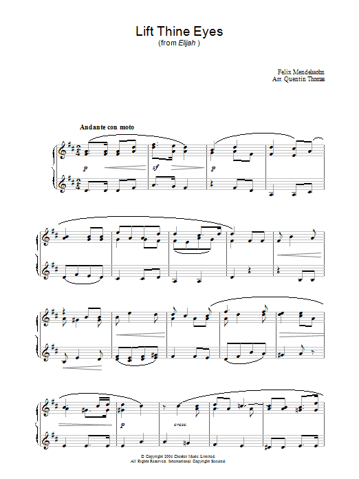 Felix Mendelssohn Lift Thine Eyes (from Elijah) sheet music preview music notes and score for Piano including 2 page(s)