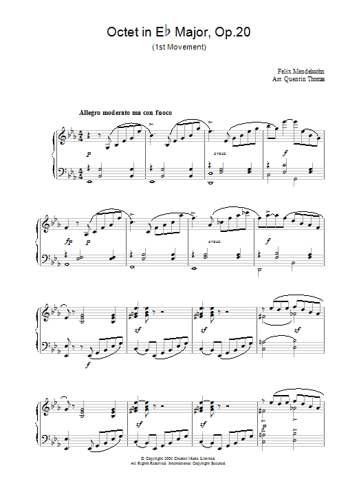 Felix Mendelssohn Octet in E Flat Major, Op.20 sheet music preview music notes and score for Piano including 4 page(s)