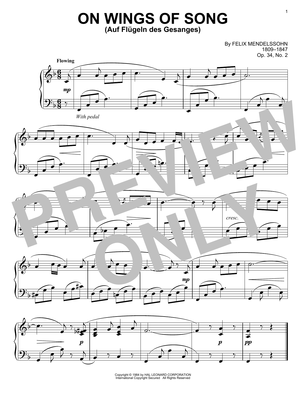 Download Felix Mendelssohn 'On Wings Of Song (Auf Flugeln Des Gesanges)' Digital Sheet Music Notes & Chords and start playing in minutes