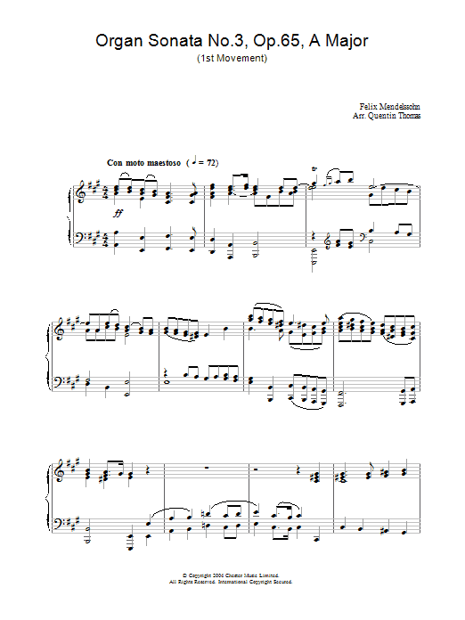 Felix Mendelssohn Organ Sonata No.3, Op.65, A Major sheet music preview music notes and score for Piano including 2 page(s)
