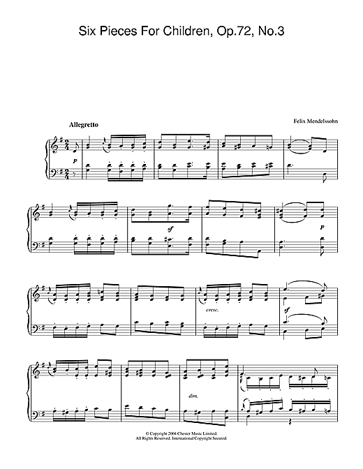 Download Felix Mendelssohn 'Six Pieces For Children, Op.72, No.3' Digital Sheet Music Notes & Chords and start playing in minutes
