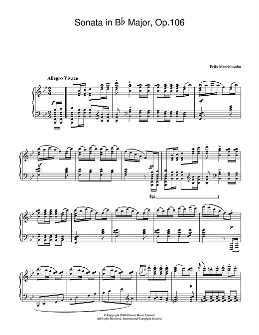 Download Felix Mendelssohn 'Sonata in B Flat Major, Op.106' Digital Sheet Music Notes & Chords and start playing in minutes