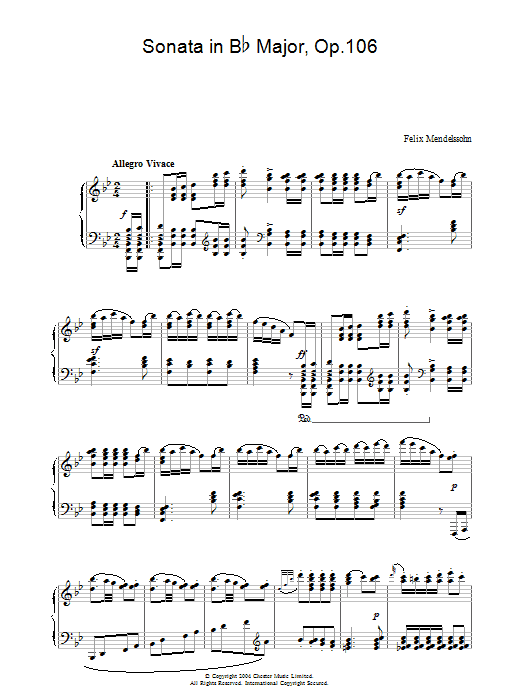 Felix Mendelssohn Sonata in B Flat Major, Op.106 sheet music preview music notes and score for Piano including 9 page(s)