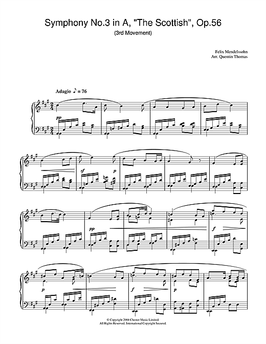 Download Felix Mendelssohn 'Symphony No.3 in A, 'The Scottish', Op.56 (3rd Movement)' Digital Sheet Music Notes & Chords and start playing in minutes
