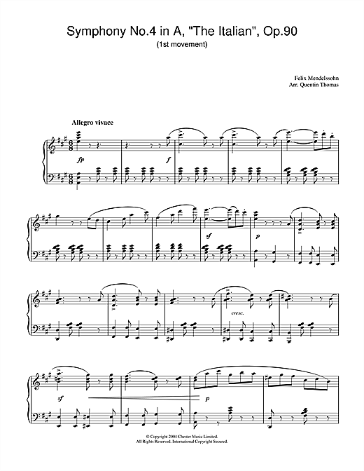 Download Felix Mendelssohn 'Symphony No.4 in A, 'The Italian', Op.90 (1st Movement)' Digital Sheet Music Notes & Chords and start playing in minutes
