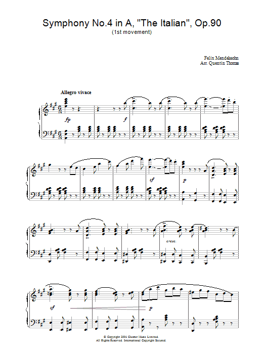 Felix Mendelssohn Symphony No.4 in A, 'The Italian', Op.90 (1st Movement) sheet music preview music notes and score for Piano including 3 page(s)