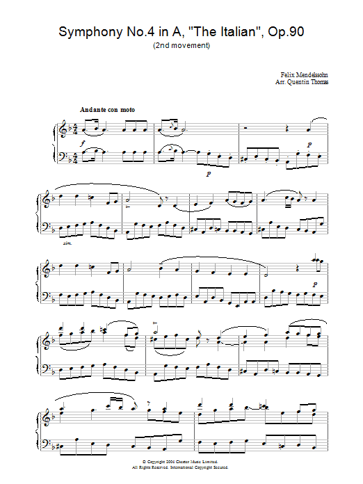 Felix Mendelssohn Symphony No.4 in A, 'The Italian', Op.90 (2nd Movement) sheet music preview music notes and score for Piano including 3 page(s)