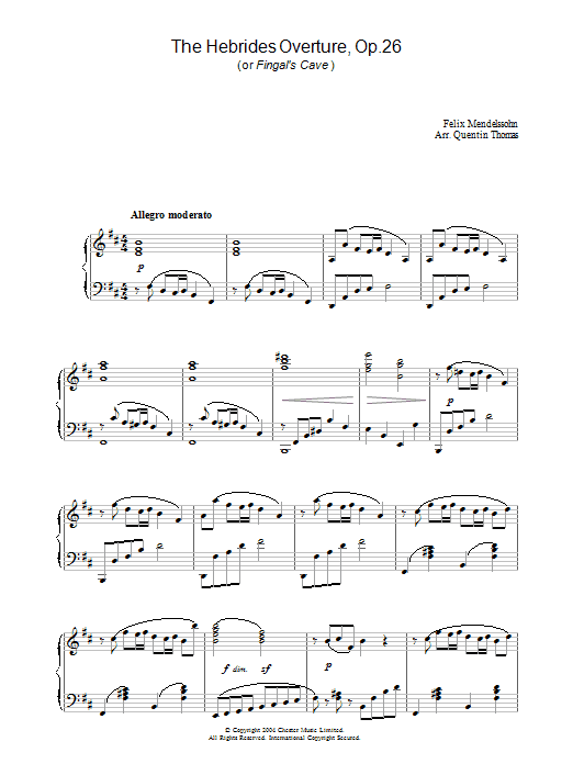 Felix Mendelssohn The Hebrides Overture, Op.26 sheet music preview music notes and score for Piano including 5 page(s)