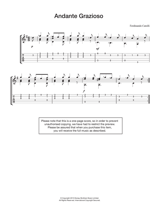 Ferdinando Carulli Andante Grazioso sheet music notes and chords