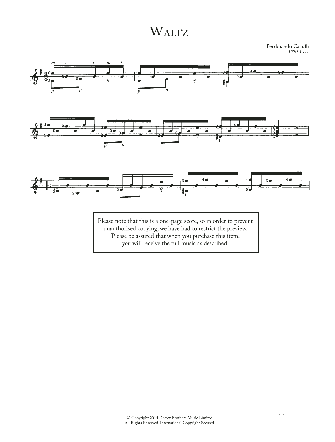 Ferdinando Carulli Waltz sheet music preview music notes and score for Guitar including 2 page(s)