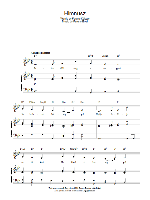 Ferenc Erkel Himnusz (Hungarian National Anthem) sheet music preview music notes and score for Piano, Vocal & Guitar (Right-Hand Melody) including 2 page(s)