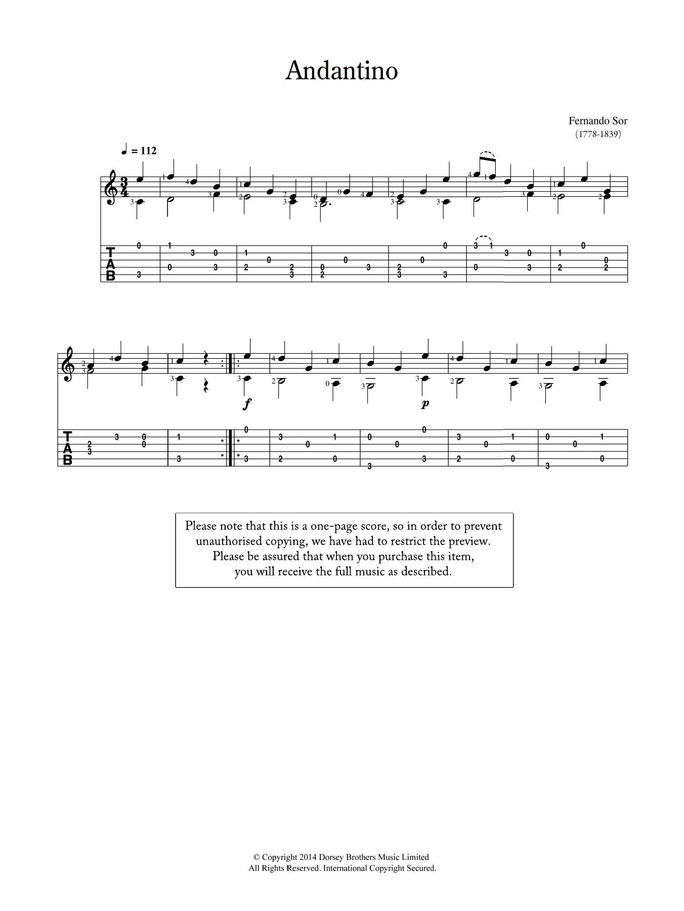 Fernando Sor Andantino sheet music preview music notes and score for Solo Guitar Tab including 2 page(s)