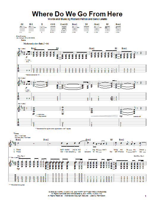 Filter Where Do We Go From Here sheet music preview music notes and score for Guitar Tab including 7 page(s)