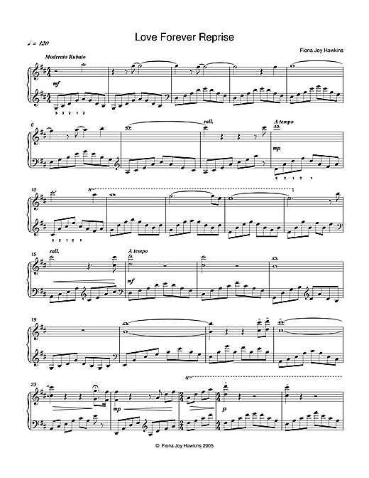 Download Fiona Joy 'Love Forever Reprise' Digital Sheet Music Notes & Chords and start playing in minutes