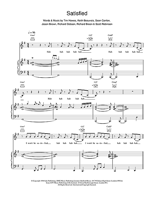 Five Satisfied sheet music notes and chords