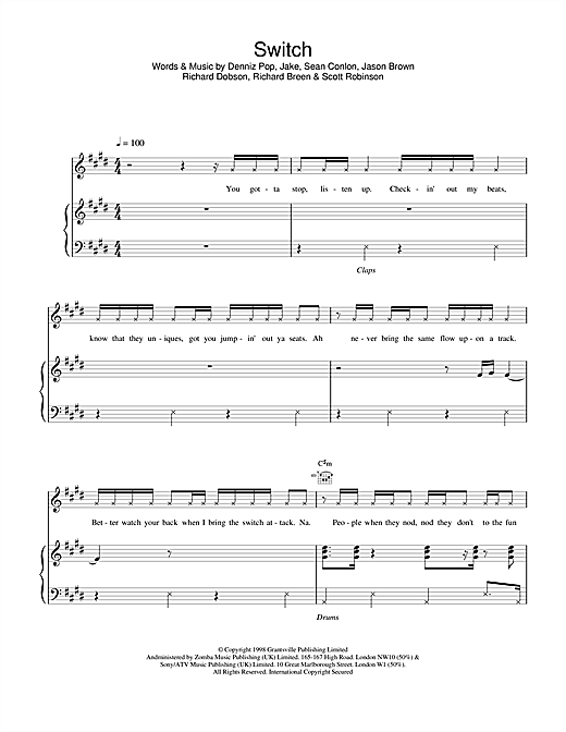 Five Switch sheet music notes and chords