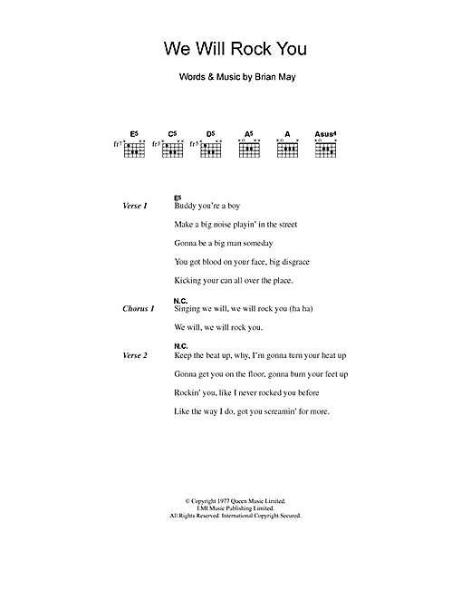 Five We Will Rock You sheet music notes and chords