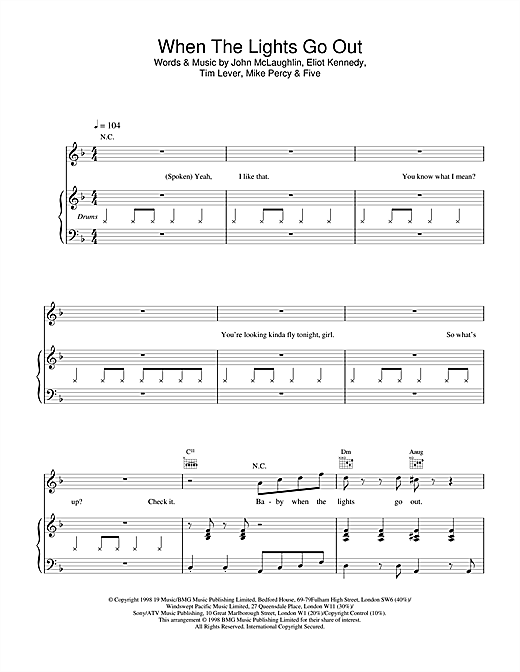 Five When The Lights Go Out sheet music notes and chords