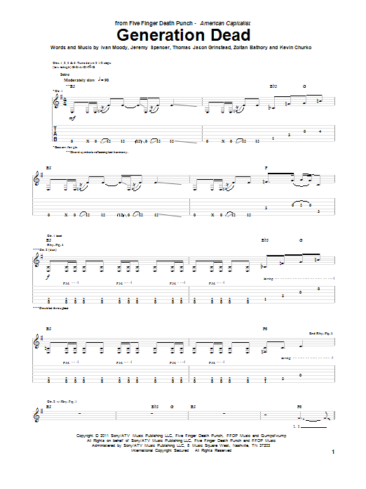 Five Finger Death Punch Generation Dead sheet music preview music notes and score for Guitar Tab including 6 page(s)