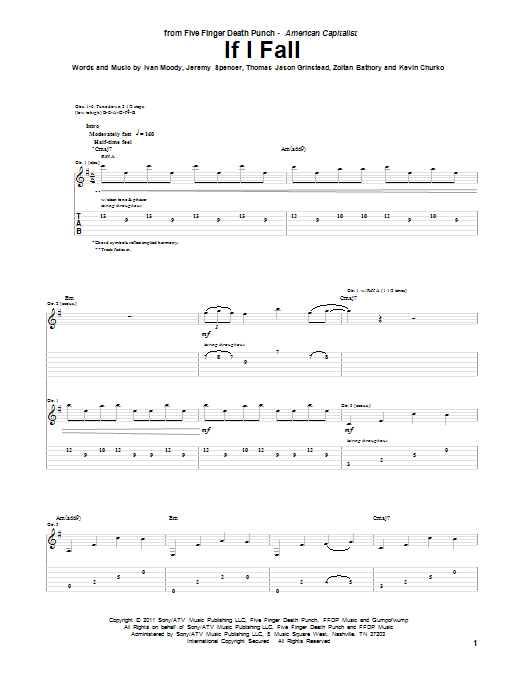 Five Finger Death Punch If I Fall sheet music preview music notes and score for Guitar Tab including 10 page(s)