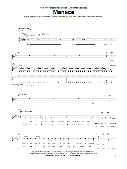 Five Finger Death Punch Menace sheet music preview music notes and score for Guitar Tab including 5 page(s)