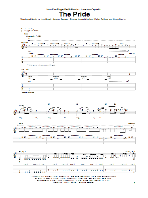 Five Finger Death Punch The Pride sheet music preview music notes and score for Guitar Tab including 5 page(s)