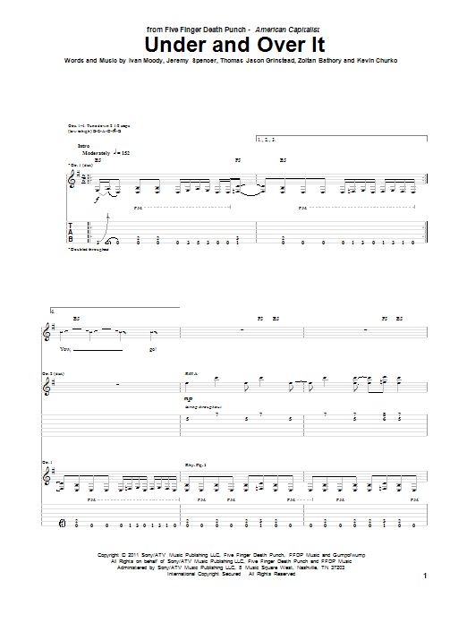 Five Finger Death Punch Under And Over It sheet music preview music notes and score for Guitar Tab including 5 page(s)