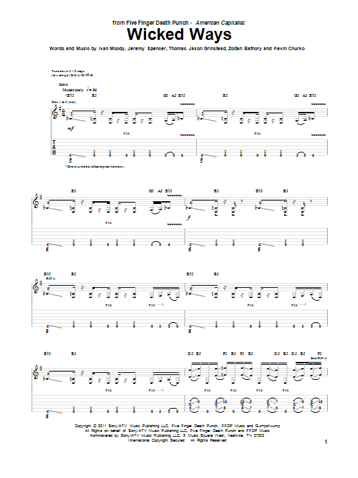 Five Finger Death Punch Wicked Ways sheet music preview music notes and score for Guitar Tab including 4 page(s)