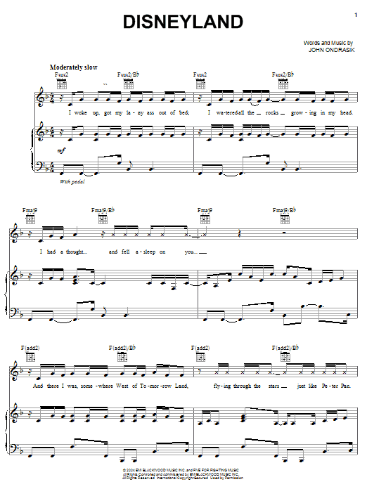Five For Fighting Disneyland sheet music notes and chords