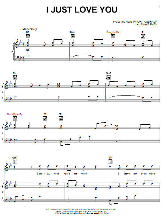 Five For Fighting I Just Love You sheet music preview music notes and score for Piano, Vocal & Guitar (Right-Hand Melody) including 6 page(s)