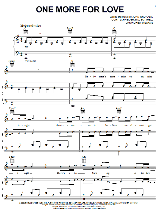 Five For Fighting One More For Love sheet music preview music notes and score for Piano, Vocal & Guitar (Right-Hand Melody) including 7 page(s)