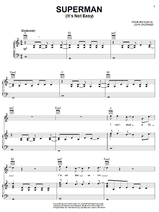 Five For Fighting Superman (It's Not Easy) sheet music preview music notes and score for E-Z Play Today including 4 page(s)