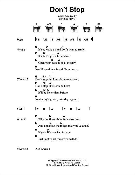 Fleetwood Mac Don't Stop sheet music preview music notes and score for Lyrics & Piano Chords including 2 page(s)