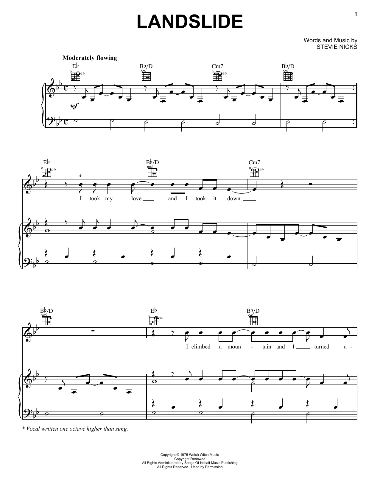 Fleetwood Mac Landslide sheet music preview music notes and score for Guitar Tab including 7 page(s)