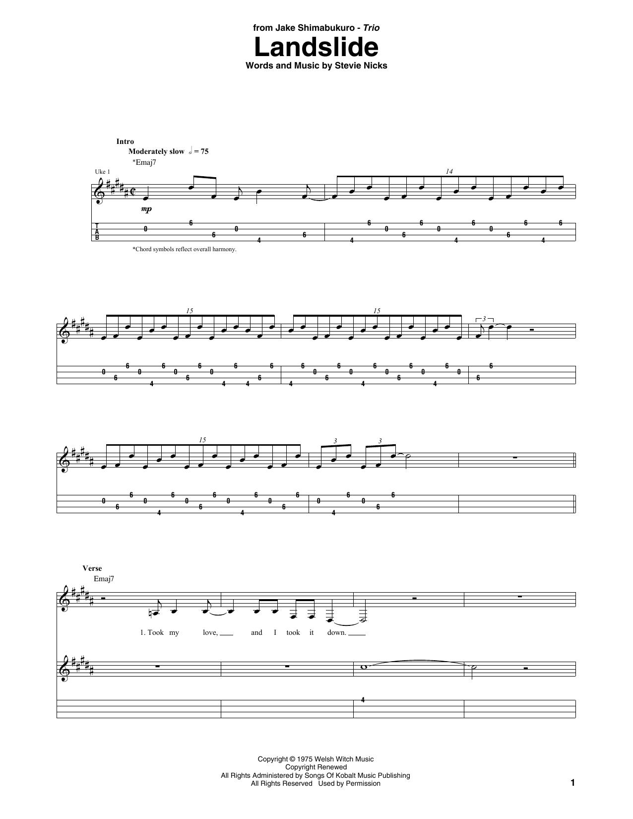 Download Fleetwood Mac 'Landslide (arr. Jake Shimabukuro Trio)' Digital Sheet Music Notes & Chords and start playing in minutes
