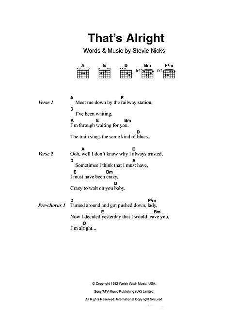 Fleetwood Mac That's Alright sheet music preview music notes and score for Lyrics & Chords including 2 page(s)