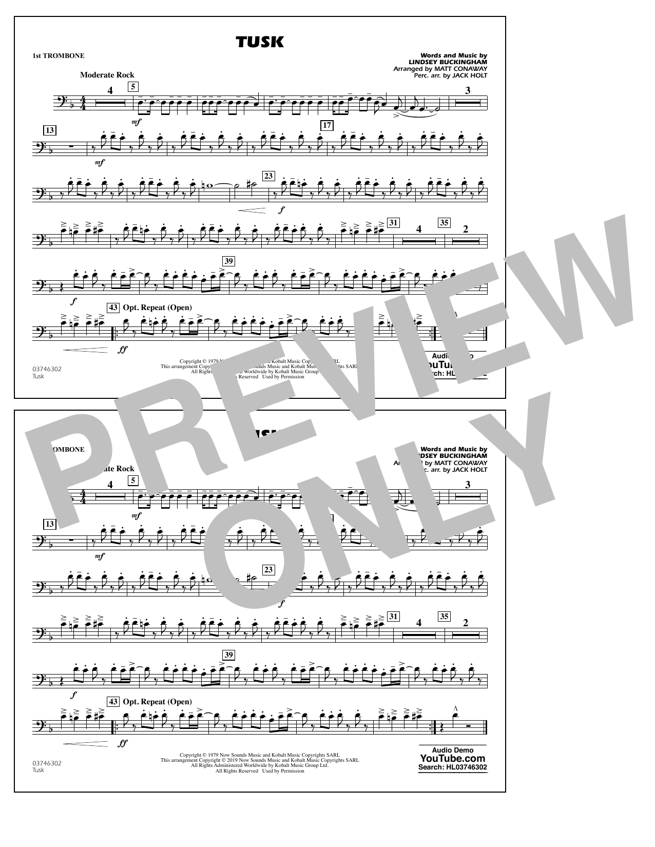 Fleetwood Mac Tusk (arr. Matt Conaway) - 1st Trombone sheet music preview music notes and score for Marching Band including 1 page(s)