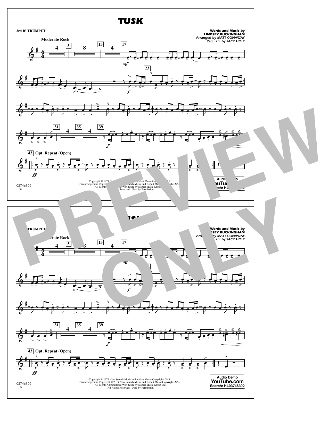 Fleetwood Mac Tusk (arr. Matt Conaway) - 3rd Bb Trumpet sheet music preview music notes and score for Marching Band including 1 page(s)