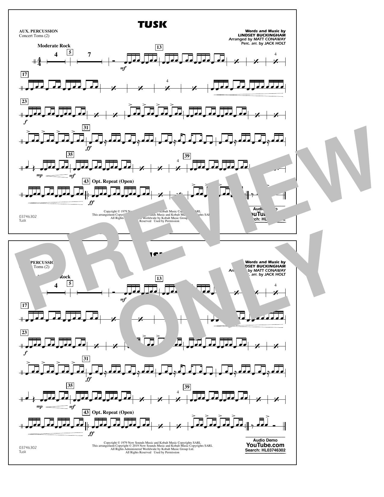 Fleetwood Mac Tusk (arr. Matt Conaway) - Aux Percussion sheet music preview music notes and score for Marching Band including 1 page(s)
