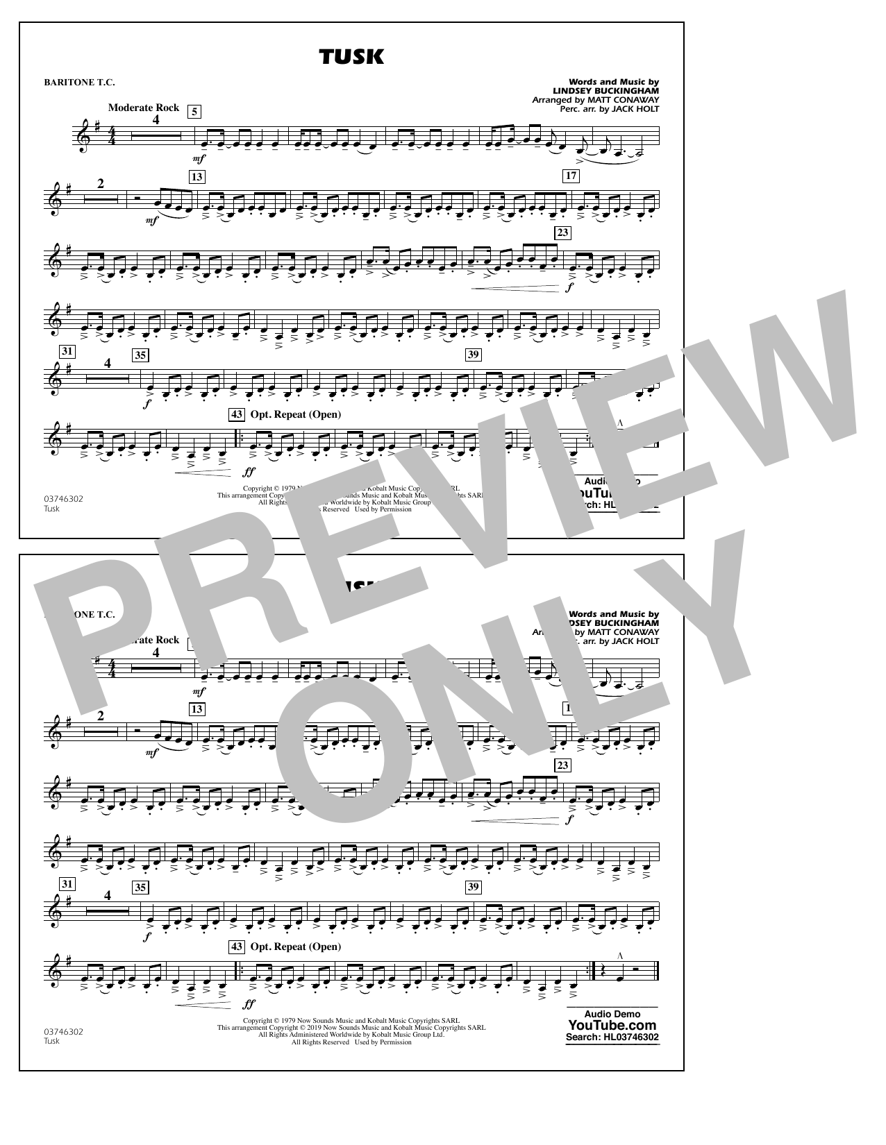 Fleetwood Mac Tusk (arr. Matt Conaway) - Baritone T.C. sheet music preview music notes and score for Marching Band including 1 page(s)