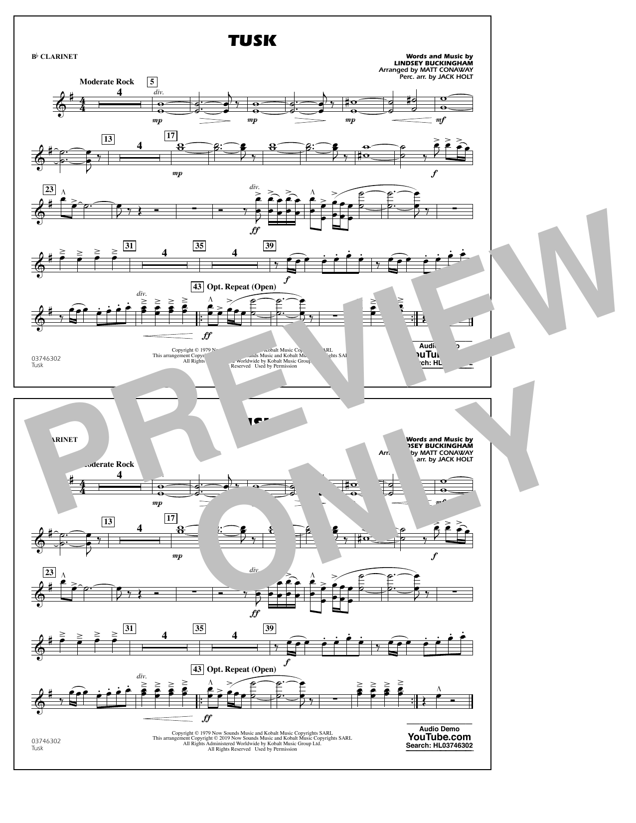 Fleetwood Mac Tusk (arr. Matt Conaway) - Bb Clarinet sheet music preview music notes and score for Marching Band including 1 page(s)