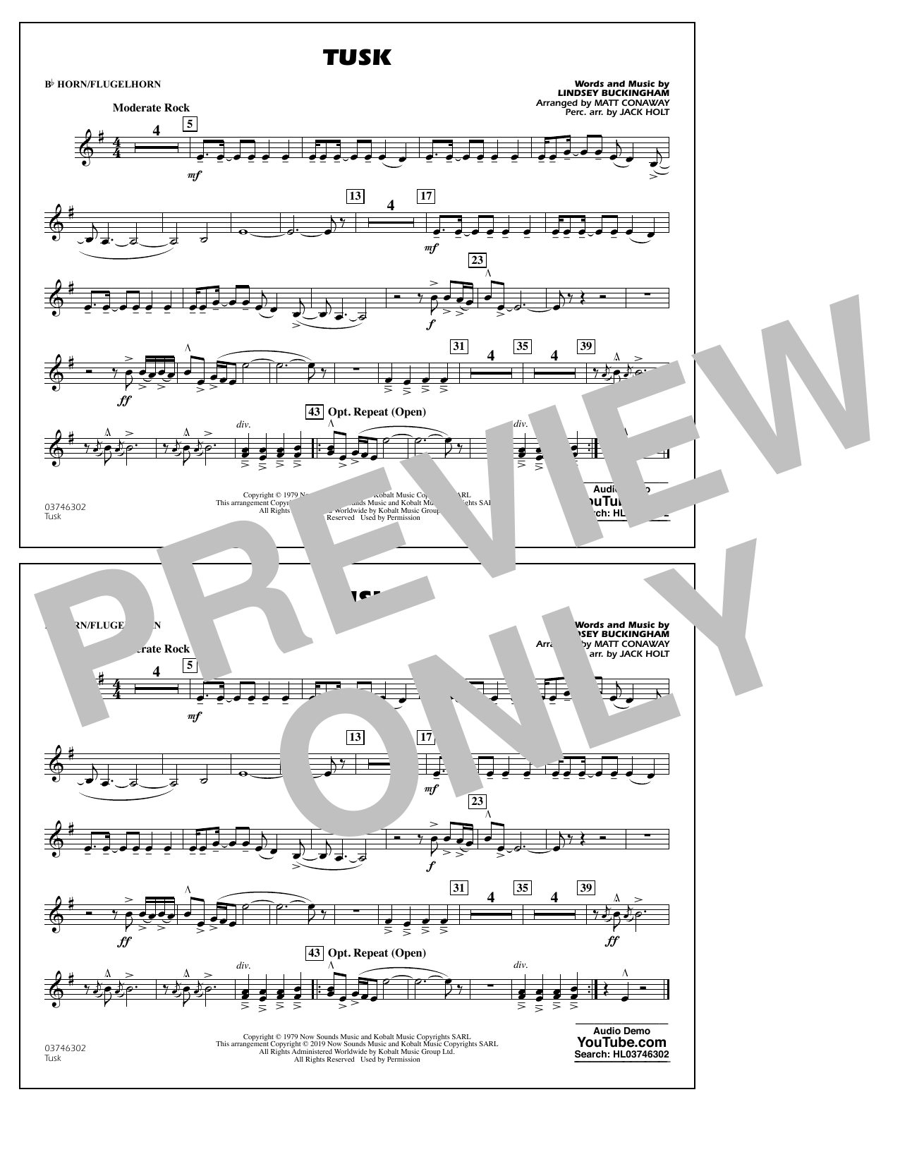 Fleetwood Mac Tusk (arr. Matt Conaway) - Bb Horn/Flugelhorn sheet music preview music notes and score for Marching Band including 1 page(s)