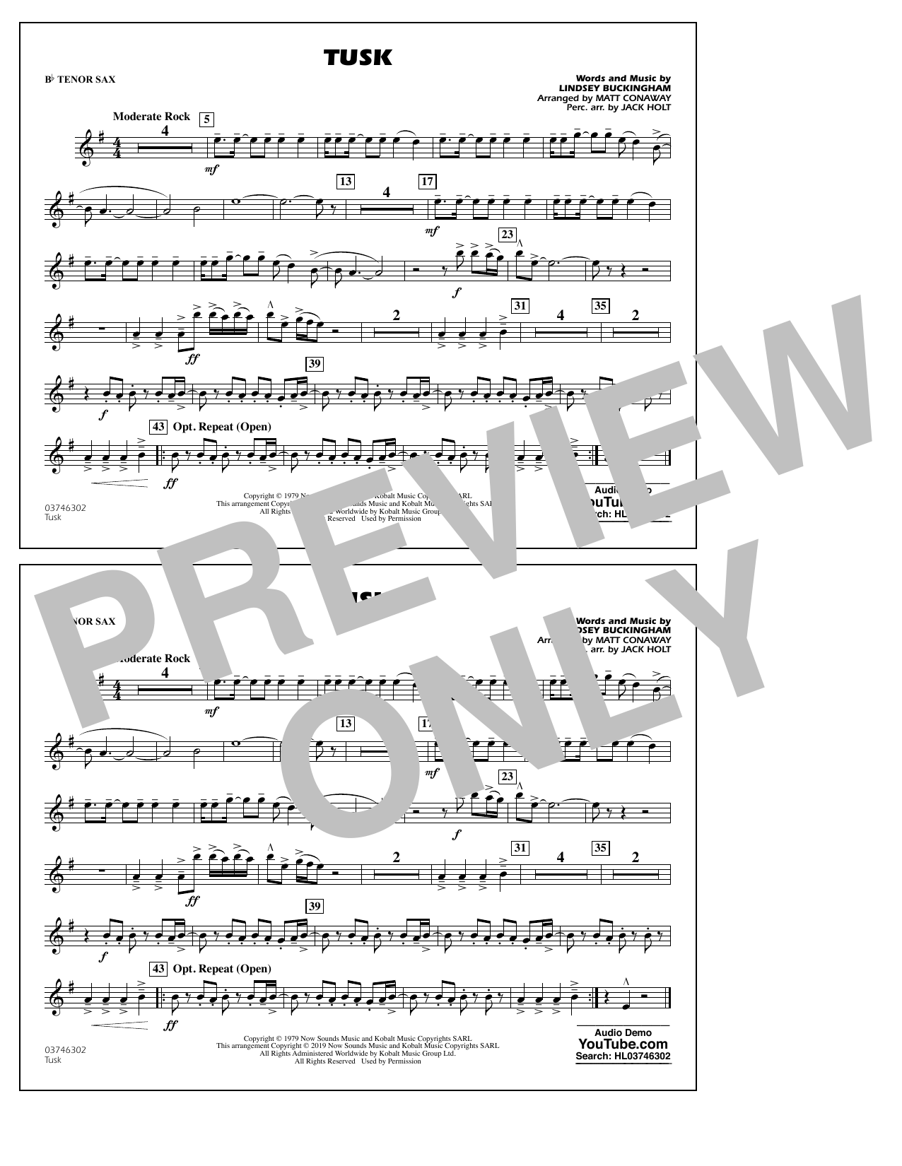 Fleetwood Mac Tusk (arr. Matt Conaway) - Bb Tenor Sax sheet music preview music notes and score for Marching Band including 1 page(s)
