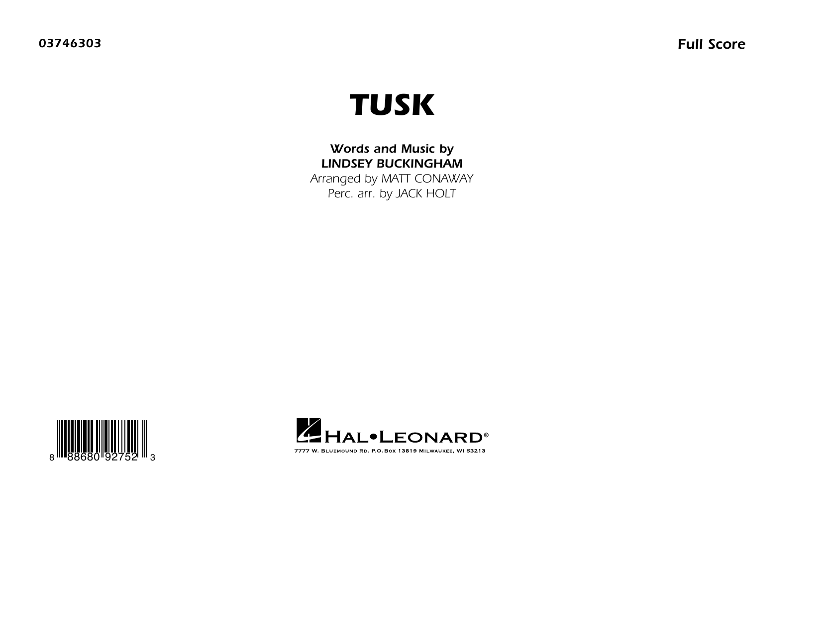 Fleetwood Mac Tusk (arr. Matt Conaway) - Conductor Score (Full Score) sheet music preview music notes and score for Marching Band including 7 page(s)