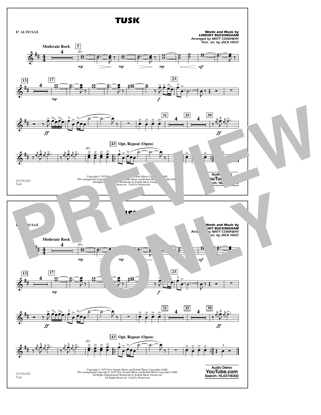 Fleetwood Mac Tusk (arr. Matt Conaway) - Eb Alto Sax sheet music preview music notes and score for Marching Band including 1 page(s)