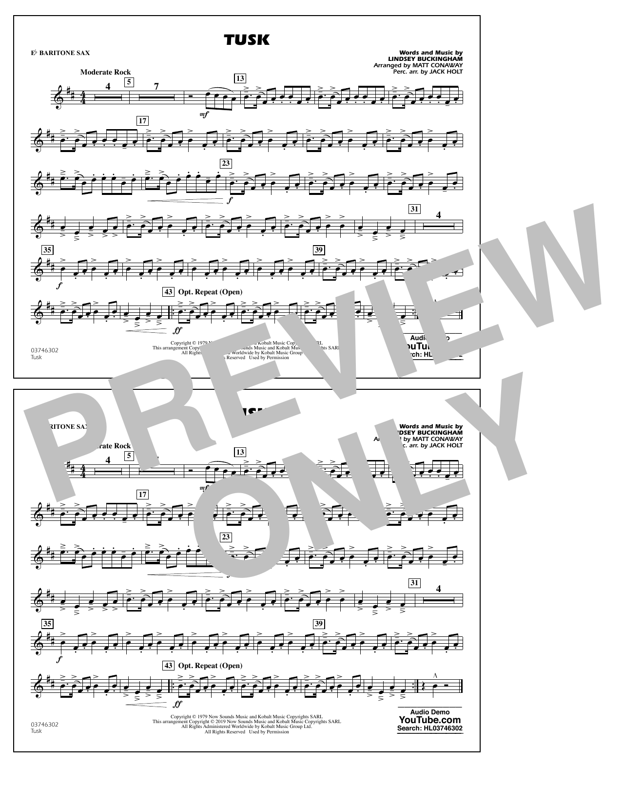 Fleetwood Mac Tusk (arr. Matt Conaway) - Eb Baritone Sax sheet music preview music notes and score for Marching Band including 1 page(s)