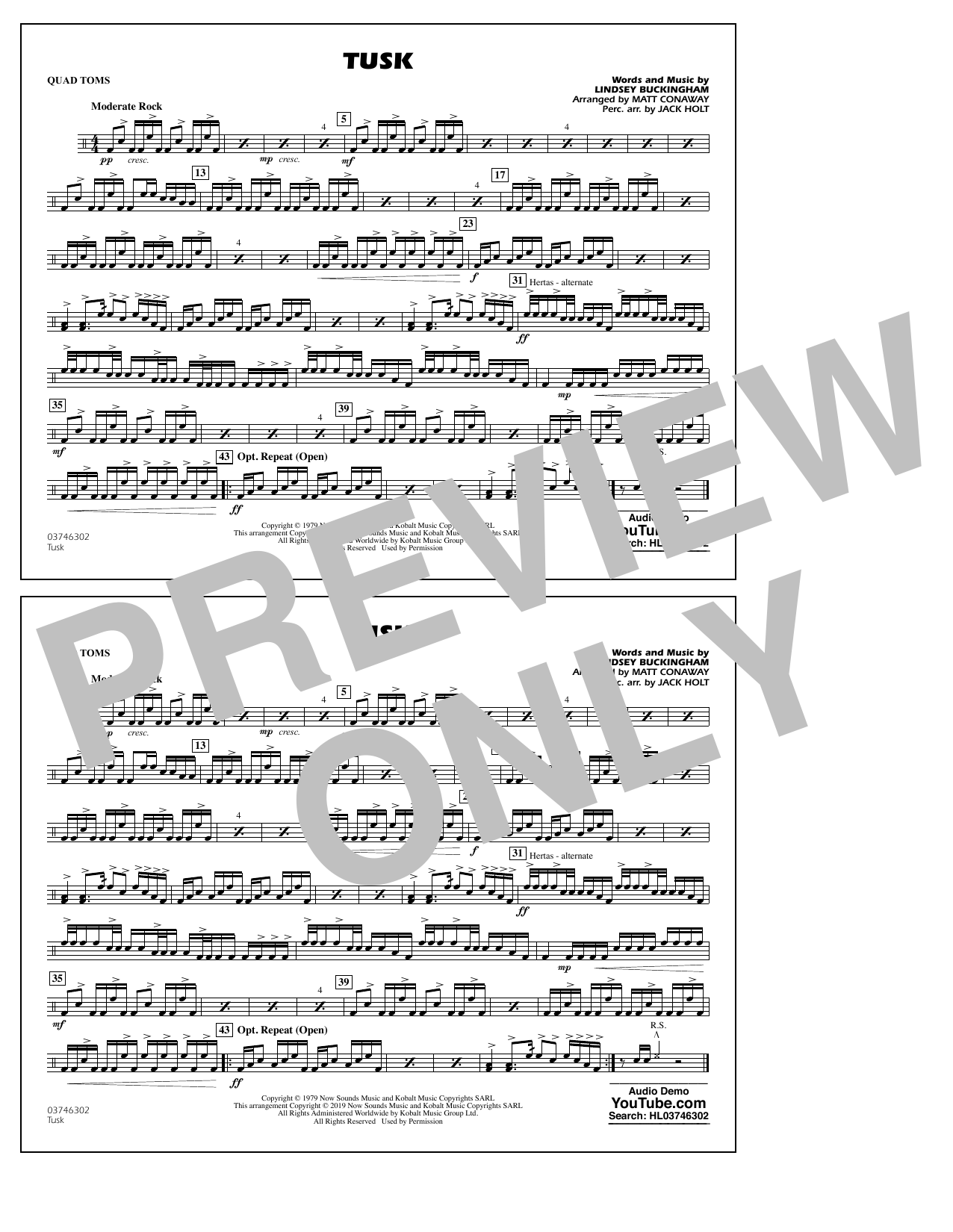 Fleetwood Mac Tusk (arr. Matt Conaway) - Quad Toms sheet music preview music notes and score for Marching Band including 1 page(s)