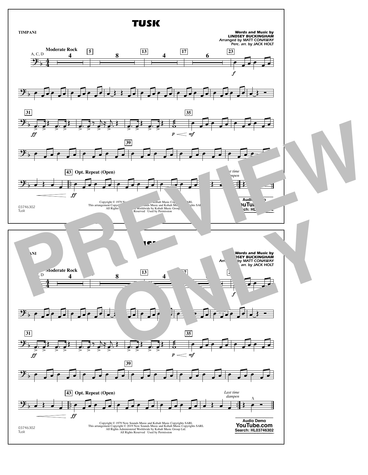 Fleetwood Mac Tusk (arr. Matt Conaway) - Timpani sheet music preview music notes and score for Marching Band including 1 page(s)