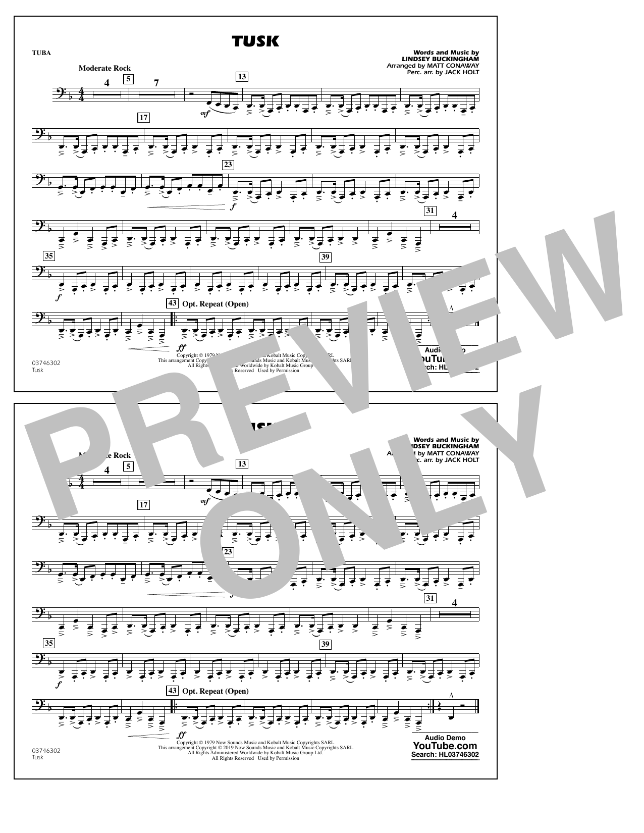 Fleetwood Mac Tusk (arr. Matt Conaway) - Tuba sheet music preview music notes and score for Marching Band including 1 page(s)