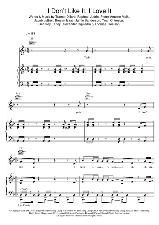 Download Flo Rida 'I Don't Like It, I Love It' Digital Sheet Music Notes & Chords and start playing in minutes